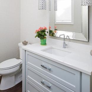 Foto di una piccola stanza da bagno con doccia classica con ante con riquadro incassato, ante grigie, WC a due pezzi, pareti grigie, parquet scuro, lavabo sottopiano e top in superficie solida