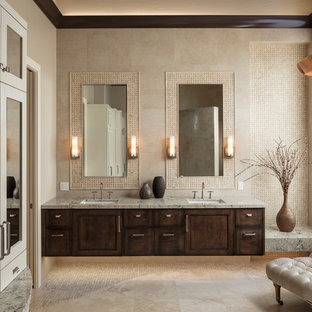 Large tuscan master bathroom photo in Phoenix with shaker cabinets, distressed cabinets, granite countertops, beige walls and an undermount sink