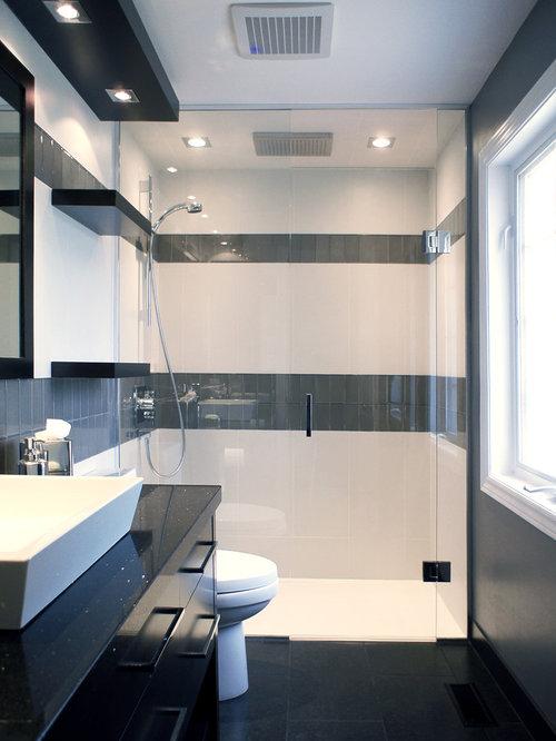 salle d 39 eau moderne avec des portes de placard en bois sombre photos et id es d co de salles d 39 eau. Black Bedroom Furniture Sets. Home Design Ideas