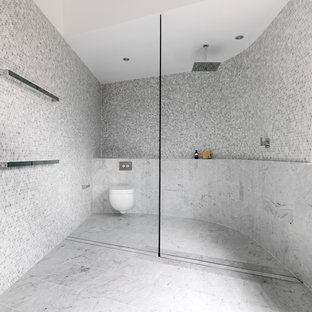 Trendy Gray Tile And Mosaic Tile Bathroom Photo In Sydney With A Wall Mount  Toilet