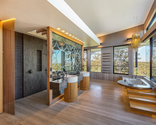 Design Ideas For A Large Contemporary Bathroom In Sydney With Medium Wood  Cabinets, An Open