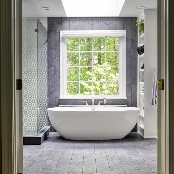 Luxury Black, White and Blue-Gray Massachusetts Master Bath.