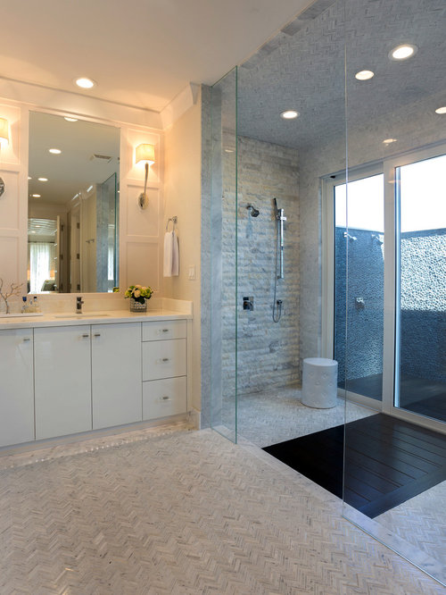 Indoor outdoor shower houzz for Indoor outdoor bathroom design ideas