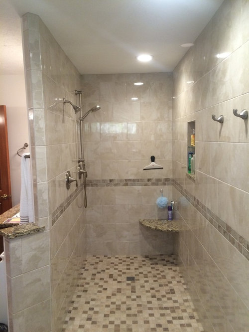 example of a mid sized transitional master beige tile and ceramic tile ceramic floor bathroom - Luxury Walk In Showers