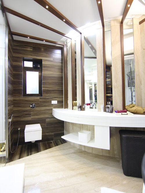 Large Trendy Brown Tile And Ceramic Tile Marble Floor Tub/shower Combo  Photo In Mumbai