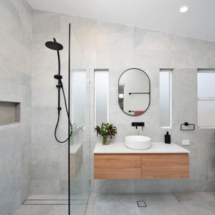 This is an example of a contemporary bathroom in Sydney with a floating vanity.