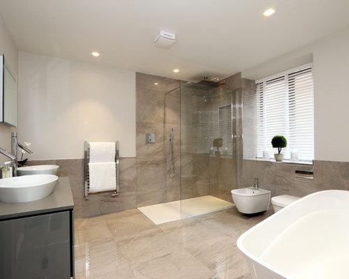 Bagno Con Doccia Aperta : Stanza da bagno con piastrelle di marmo buckinghamshire foto idee