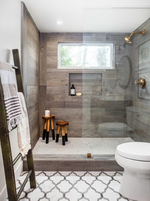 Perfect Small Country Multicolored Tile And Stone Tile Marble Floor Doorless Shower  Photo In Sacramento With Furniture