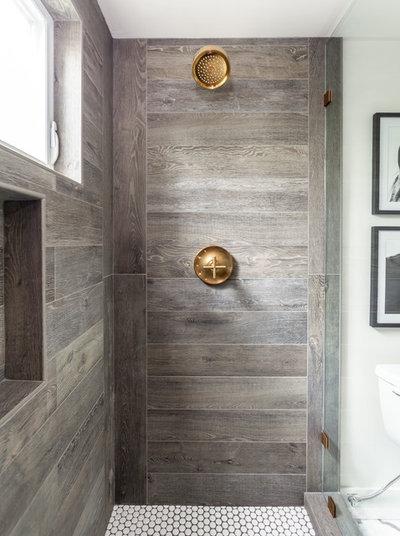 Farmhouse Bathroom by Juxtaposed Interiors