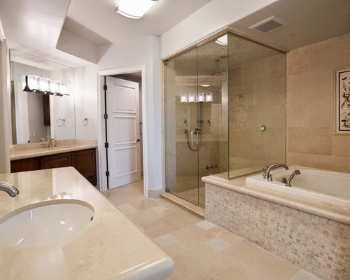 Midcentury bathroom design ideas renovations photos with granite worktops - Bathroom cabinets las vegas ...