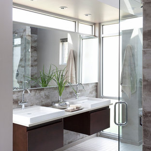Bathroom Master Brown Tile And Gray White Floor Idea In Chicago With