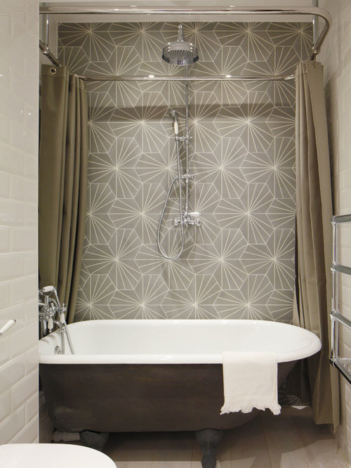 free standing tub and shower. Small industrial white tile and subway bathroom idea in London with  multicolored walls Freestanding Tub With Shower Ideas Houzz