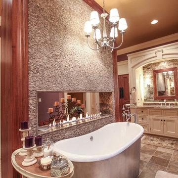 Luxury Master Bath with Fireplace