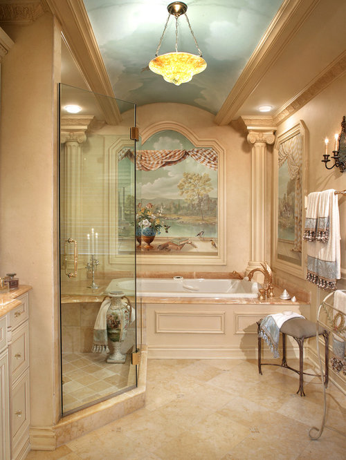 inspiration for a mediterranean beige tile bathroom remodel in new york