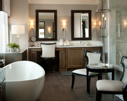 Example Of A Large Transitional Master Bathroom Design In San Diego With A  Freestanding Tub,