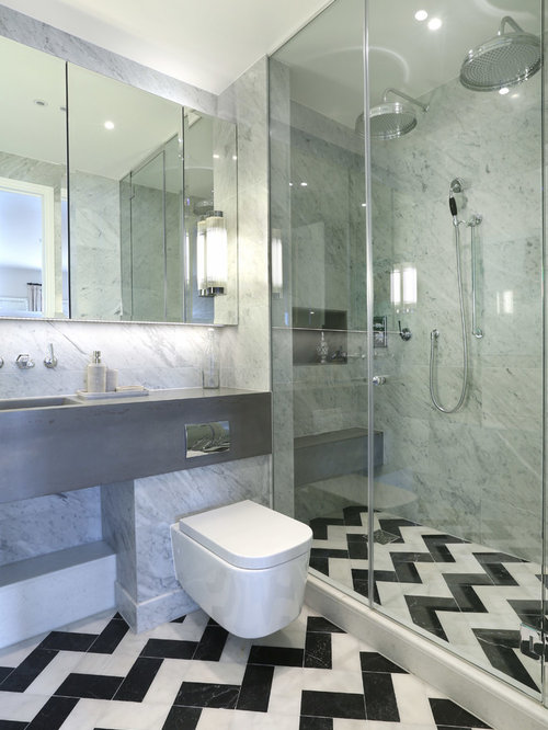 tile bathroom ideas. Trendy black and white tile marble floor alcove shower photo in London with  an integrated sink Zig Zag Tiles Bathroom Ideas Photos Houzz