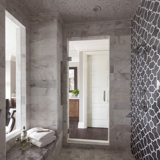 Photo of a large traditional ensuite bathroom in San Diego with a submerged sink, a freestanding bath, grey tiles, stone tiles, grey walls, ceramic flooring and an alcove shower.