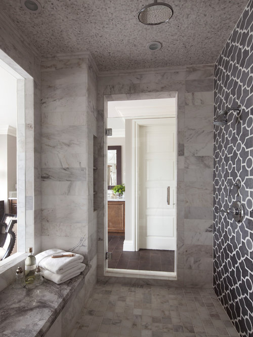 inspiration for a large transitional master gray tile and stone tile ceramic floor bathroom remodel in - Luxury Showers