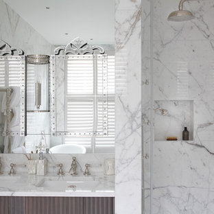 Medium sized traditional bathroom in London with a walk-in shower, white walls, marble flooring, a submerged sink and marble worktops.