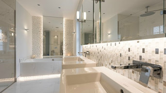Luxury White Master Bathroom in Esher featuring Marble Tiles, Tiled Bath Frame,