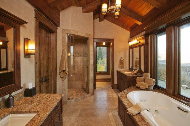 Rustic Bathroom by Lynne Barton Bier - Home on the Range Interiors