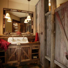Rustic Bathroom by Lynne Barton Bier - Home on the Range Interiors