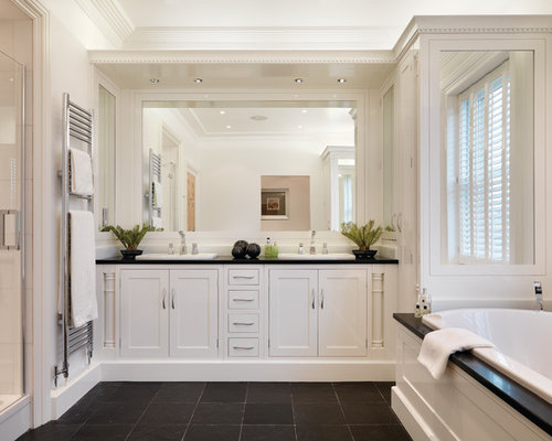 Traditional Ensuite Bathroom In Other With Freestanding Cabinets, White  Cabinets, A Built In