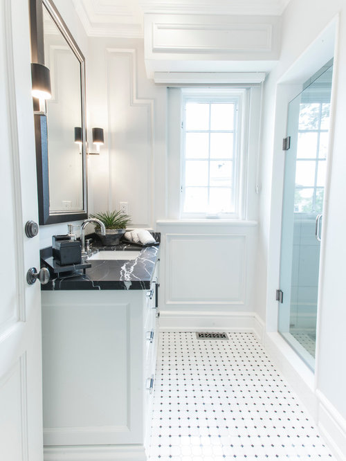 Example Of A Classic 3/4 White Tile Multicolored Floor Alcove Shower Design  In Toronto