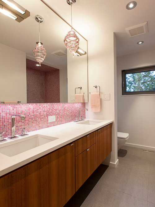 inspiration for a pink tile and mosaic tile bathroom remodel in edmonton with an undermount