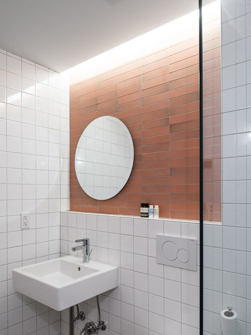 Bathroom Design Ideas Renovations Photos With A Walk In Shower And Pink Tiles