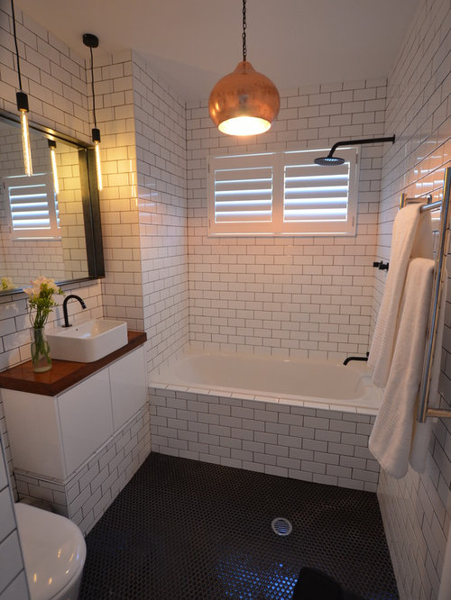 White Tile With Dark Grout Houzz