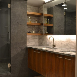Alcove shower - contemporary master white tile alcove shower idea in New York with an undermount sink, flat-panel cabinets and medium tone wood cabinets