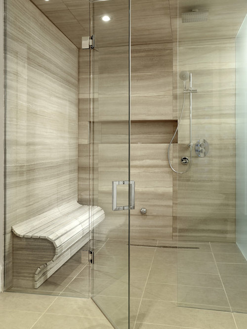 Shower Wall Tile Design bathroom tile shower Example Of A Large Trendy Master Walk In Shower Design In Toronto With Beige Tile