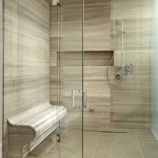 Example Of A Large Trendy Master Beige Tile And Porcelain Tile Travertine  Floor Walk In