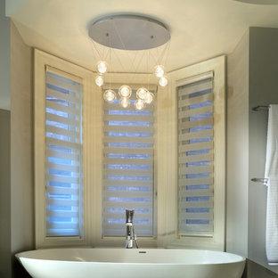 Diseño de cuarto de baño principal, actual, de tamaño medio, con bañera exenta y suelo de baldosas de porcelana