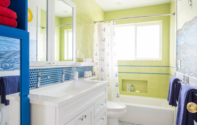 Room of the Day: A Kids' Bathroom Sets Sail With a Sunny Nautical Theme