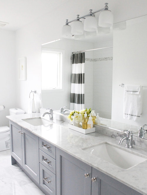 Awesome Traditional Bathroom Idea In Toronto With Marble Countertops, An Undermount  Sink And Gray Cabinets