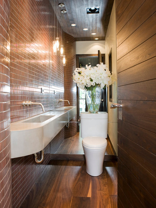 trendy bathroom photo in denver with a wall mount sink and brown tile - Updated Bathrooms Designs
