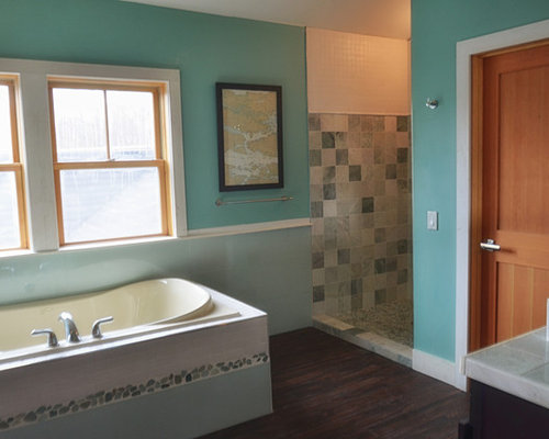 Portland Maine Bathroom Design Ideas Renovations Photos With Dark Hardwood Floors