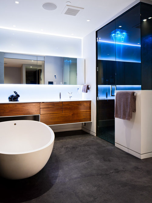 Elegant Large Contemporary Master Bathroom Idea In Vancouver With Flat Panel  Cabinets, Medium Tone Wood Part 31
