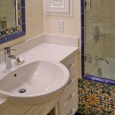 Mediterranean Bathroom by James Hill Architect, AIA