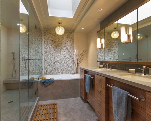 Trendy gray tile and pebble tile bathroom photo in San Francisco with an  undermount sink. European Bathroom Cabinets San Jose   Houzz