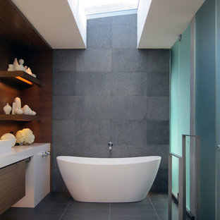 Example Of A Trendy Freestanding Bathtub Design In San Francisco