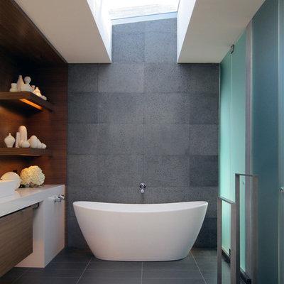 Example of a trendy freestanding bathtub design in San Francisco