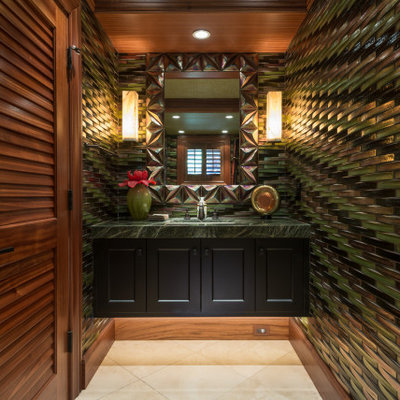 Example of an island style beige floor, single-sink and wood ceiling bathroom design in Hawaii with recessed-panel cabinets, black cabinets, an undermount sink, green countertops and a floating vanity