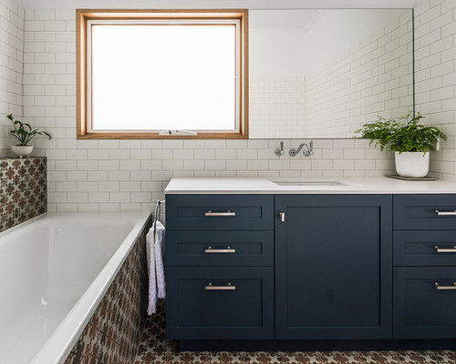 Design Ideas For A Mid Sized Contemporary Master Bathroom In Melbourne With  Shaker Cabinets,