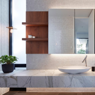 Inspiration for a contemporary bathroom in Adelaide with white tile, mosaic tile, a vessel sink, brown floor and white benchtops.