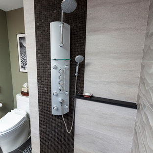Inspiration for a mid-sized contemporary master black tile and porcelain tile porcelain tile walk-in shower remodel in Bridgeport with a trough sink, flat-panel cabinets, medium tone wood cabinets, concrete countertops, a two-piece toilet and gray walls