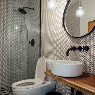 75 Beautiful Mid Century Modern Black And White Tile Bathroom
