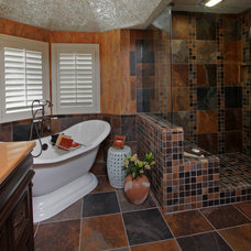 Tropical Bathroom by Design Underfoot by Tami